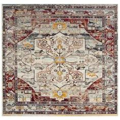 Safavieh Crystal Lucca Light Blue/Red Square Indoor Distressed Area Rug Crs503c-7Sq