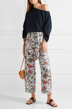 Tory Burch - Gabriella Cropped Printed Silk-satin Wide-leg Pants - Ivory