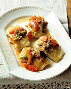 Striped Sea Bass with Blood Oranges and Olives--I use olive oil instead of canola oil