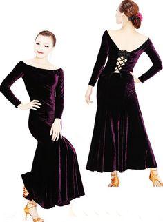 Lady Autumn/Winter Velvet Ballroom dance dress.