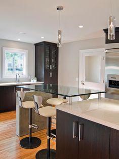 Sleek Contemporary Kitchen | Mary Beth Hartgrove | HGTV Extend Island for seated bar