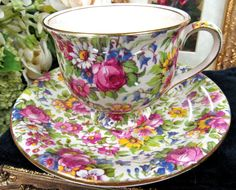 ROYAL WINTON TEA CUP AND SAUCER CHINTZ SUMMERTIME PATTERN CUP AND SAUCER TEACUP in Antiques | eBay