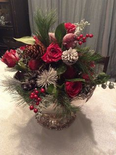 Innovative-Christmas-Centerpieces-fashion-Los-Angeles-Traditional-Dining-Room-Remodeling-ideas-with-antique-silver-Christmas-centerpiece-DIY-Flower-arranging-tutorials-pine-Reed-and-Barton-silversmiths-Sugared.jpg (740×990)