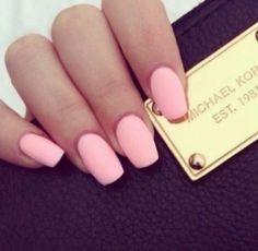 Beautiful matte baby pink nails