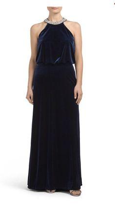 Marina Made In USA Halter Velour Dress Navy Blue Gown Dress Rhinestones Size 6  | eBay