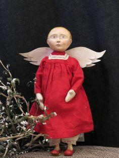 "Valentine Pat Castka Original Folk Art ""Little Red Angel"" Doll | eBay"
