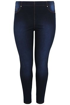 c123218608a Yours Clothing Women s Plus Size Indigo Pull On Lola Jeggings Plus Size 16  to 32 Size