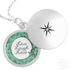 """""""Love Laugh Love"""" silver-plated necklace. Give the Gift of Quote Necklaces and Other Quote Jewelry"""
