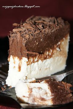 Cheesecake with Chocolate Mousse Sweet Recipes, Cake Recipes, Dessert Recipes, Love Eat, Love Food, Polish Desserts, Cheesecake, Delicious Desserts, Yummy Food