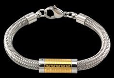 B51Z0902 - University of Michigan Stainless Steel Cable Bracelet with Gold Center Bead https://www.facebook.com/CNoteUniversityofMichigan