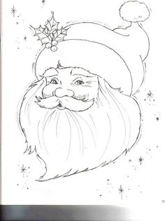 Wouldn't this Santa look great stitches on a blue background. and various shades of white for his beard, mustache, hat band and pom, pom. Red of course for the hat. Maybe silver for the stars. Christmas Rock, Christmas Pictures, Christmas Colors, Christmas Crafts, Xmas, Christmas Printables, Christmas Drawing, Christmas Paintings, Christmas Coloring Pages