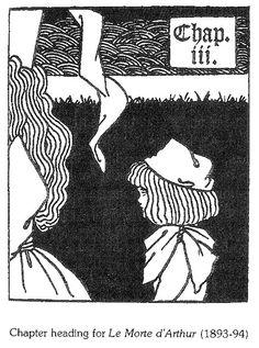 Aubrey Beardsley : Chapter heading for Le Morte d'Arthur Art Nouveau, Japanese Woodcut, Aubrey Beardsley, Illustration, Erotic, Folklore, Artist, Prince, Graphics