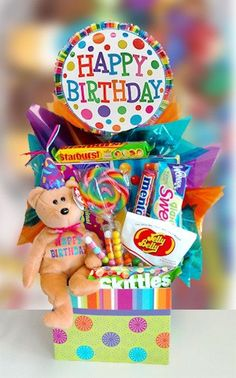 Birthday Bear Surprise Candy Basket