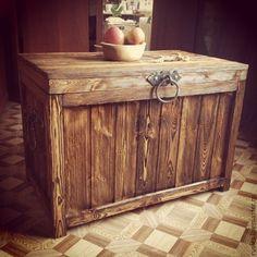 """Купить Сундук деревянный """"Большой"""" - коричневый, сундук, сундук деревянный, сундук под старину, браширование"""