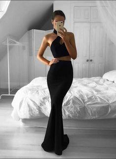 Black Prom Dresses,Mermaid Prom Dresses,Long Prom Dresses,Two Pieces Prom Dresses,Evening Dresses Party Dresses,