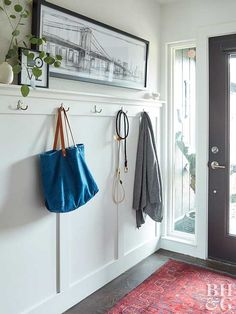 For the mudroom, a more modern look.See how a bland home transformed into a modern oasis, indoors and out. Coat Hooks Hallway, Entryway Hooks, Coat Hooks On Wall, Narrow Entryway, Entry Hallway, Entryway Decor, Mudroom Shelf, Entryway Ideas, Hallway Ideas