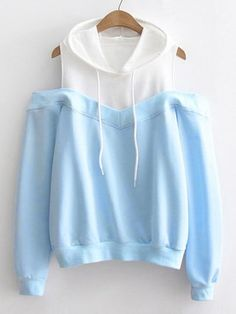 SheIn offers Contrast Panel Open Shoulder Hoodie & more to fit your fashionable needs. Kawaii Fashion, Cute Fashion, Teen Fashion, Fashion Outfits, Fashion Black, Fasion, Fashion Ideas, Vintage Fashion, Vetement Fashion