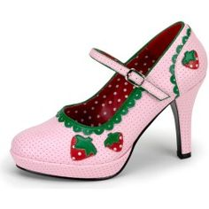 pink and red strawberry shoes! cute heels, great for a hime/sweet coord!