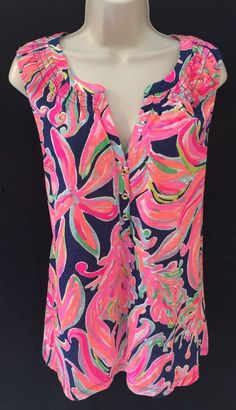 Lilly Pulitzer XL Essie Top Resort Navy Banana Flambe Pink Sleeveless NEW #LillyPulitzer #KnitTop #Casual