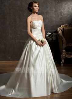 Wedding Dresses - $176.99 - Ball-Gown Sweetheart Chapel Train Satin Wedding Dress With Ruffle Beadwork (002011522) http://jjshouse.com/Ball-Gown-Sweetheart-Chapel-Train-Satin-Wedding-Dress-With-Ruffle-Beadwork-002011522-g11522