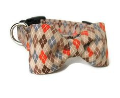 Argyle Dog Collar and Bowtie Set - OSCAR in Available in All Sizes - Smart Argyle for your Dapper Pup. $20.00, via Etsy.