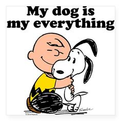 """Charlie Brown: My Dog is my Square Sticker 3"""" x 3"""" on CafePress.com"""