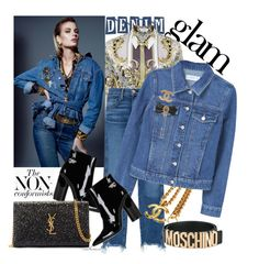 """""""Glam Denim on Denim"""" by arethaman ❤ liked on Polyvore featuring Naeem Khan, Versace, 3x1, Chanel, MANGO, Moschino, Dolce&Gabbana, Sigerson Morrison, Yves Saint Laurent and denim"""