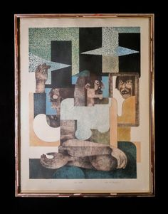 MENA DOLOBOWSKY ARTIST PROOF COLOR LITHOGRAPH TITLE TALL HATS SIGNED & DATED 81 #Modernism