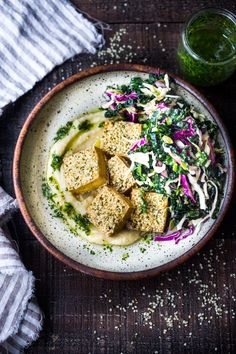 Hemp Crusted Tofu with Celeriac Puree