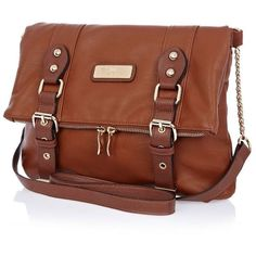River Island Brown Foldover Messenger Bag ($40) ❤ liked on Polyvore