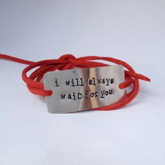 deployment bracelet, military wife, arm wife, military girlfriend, deployment gift, deployment jewelry, hand stamped i will always wait by Bstamped.etsy.com