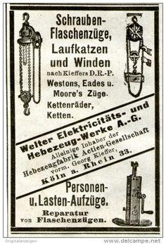 Original-Werbung/ Anzeige 1903 - SCHRAUBEN- FLASCHENZÜGE - WINDEN - LASTAUFZÜGE / WELTER - KÖLN - ca. 50 x 75 mm