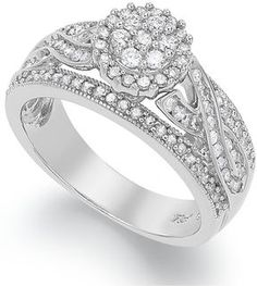 Sterling Silver Certified Round-Cut Diamond Engagement Ring #Wedding