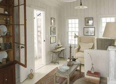 Swedish Decor in the Hamptons Lake Cottage Living, Beach Cottage Decor, Cozy Cottage, Coastal Cottage, River Cottage, White Cottage, White Farmhouse, Cozy Cabin, Coastal Style