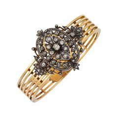Bracelets : antique gold silver and diamant bangle Victorian Jewelry, Antique Jewelry, Vintage Jewelry, Antique Gold, Gold And Silver Bracelets, Gold Bangles, Silver Ring, Fantasy Jewelry, Jewelry Trends