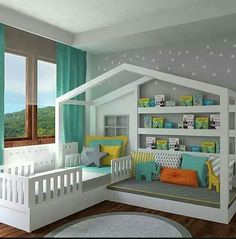 Would be so fun for a kid room with a reading bench that would work for sleepover friends