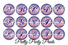 Instant Download Patriotic Alphabet 1 inch by PrettyPartyPrints, $1.75