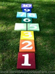 Hopscotch from painted cement pavers.