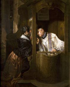"""A Confissão"" → Giuseppe Molteni - 1800/1867 - Pintor Italiano."