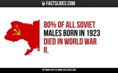 80% of all Soviet males born in 1923 died in World War II.