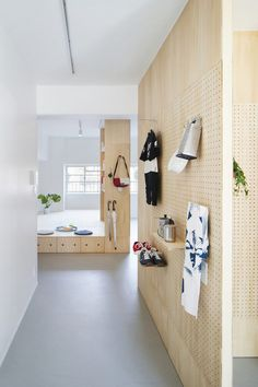 Danchi, Japan, by Nmstudio Architects and Nozoe Shimpei Architects. This public-housing complex in Osaka, Japan, was given raised plywood floors and pegboard walls to let residents customise their apartments. Pegboard Craft Room, Kitchen Pegboard, Craft Rooms, Ikea Pegboard, Painted Pegboard, Pegboard Garage, Pegboard Display, Pegboard Organization, Plywood Interior