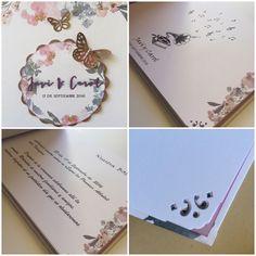Hoy os voy a mostrar un libro de firmas para boda a juego con la tarjeta de invitación.         Javi y Carol son una pareja que se acaban ...
