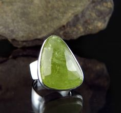 Green Grossular Garnet from Africa in handcrafted sterling silver ring.