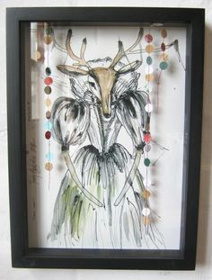 Dear Deer Artwork by Terry Angelos R695 framed. Available at the Malva pop-up shop in Durban.