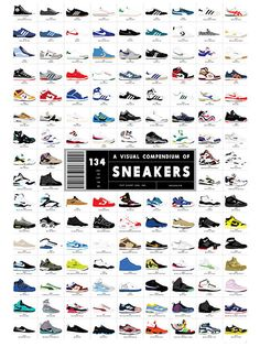 A Visual Poster of Sneakers - A meticulously illustrated collection of the 134 greatest sneakers in human history, starting with the Chuck Taylor way back in and carrying through the instant classics of the modern day. Hugo Boss, Nike Vintage, Sneaker Posters, Adidas Design, Jack Threads, Branding, Illustrations, Sneakers, Air Max