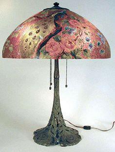 Antique Handel peacock table lamp.