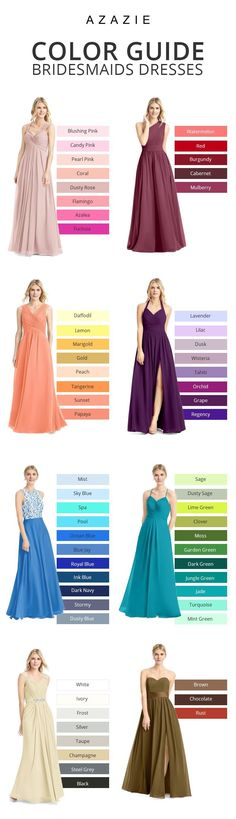 A bride's best friend! Azazie offers 50+ colors for you to choose from. Get color swatches so you can see the colors in person!