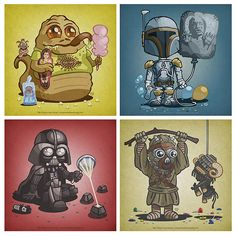 Star Wars Kids Prints. If I had star wars obsessed children, I would totally use this in their bedrooms.