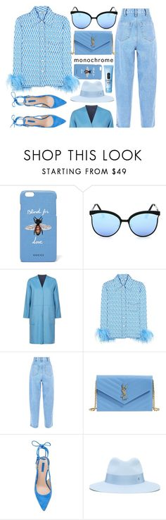 """""""One Color, Head To Toe"""" by smartbuyglasses-uk ❤ liked on Polyvore featuring Gucci, Quay, Weekend Max Mara, Prada, Yves Saint Laurent, Maison Michel, Clinique, monochrome and Blue"""