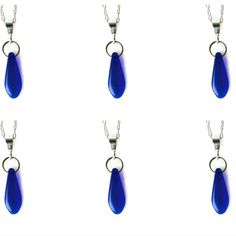 Bridal Bridesmaids Sterling Silver Blue Glass Minimalist Pendant Necklace x 6 £67.20